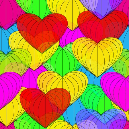 Colorful heart symbol. Seamless background. Stock Vector - 17641594