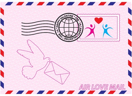 Envelope for Valentine Day with stamp, heart and bird symbols Vector