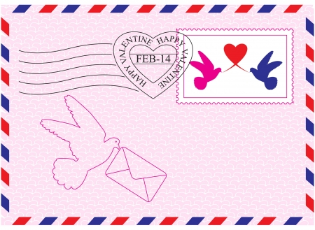 Envelope for Valentine Day with stamp, heart and bird symbols Illustration