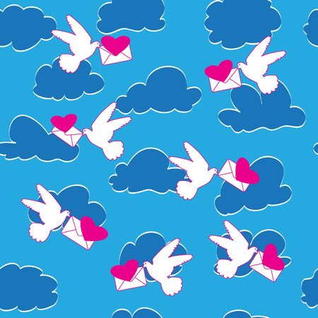 Bird, heart, envelope and cloud. Seamless background Vector