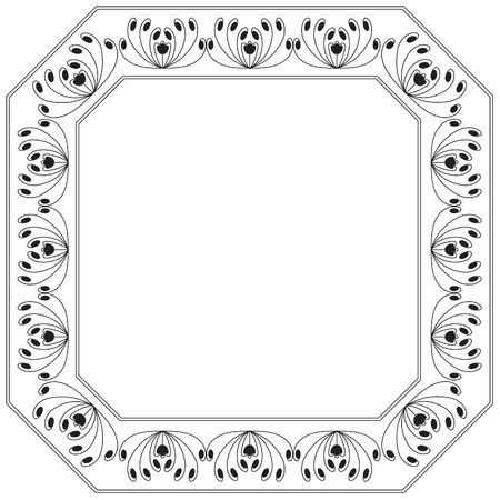 Square frame with floral and swirl motif. Background Illustration. Stock Vector - 17641731