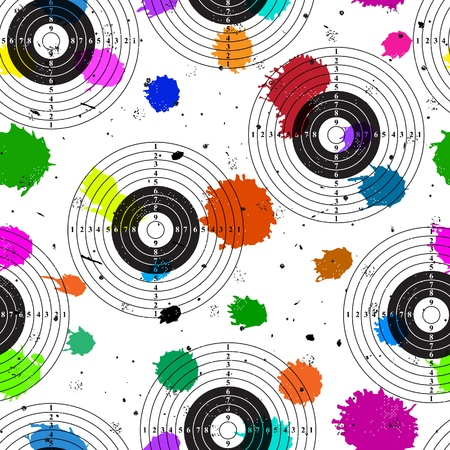 Target over colorful grange blot. Seamless background.