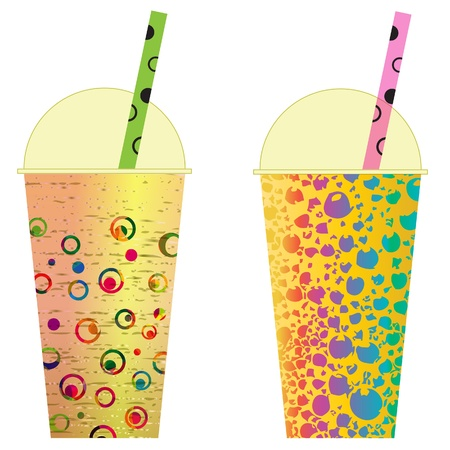 plastic straw: Various Bubble Tea in a row, clip art.