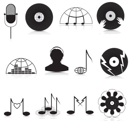 Set of black and white music Icons Vector