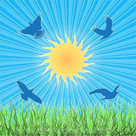Paper applique landscape with birds, sun and green grass. Vector