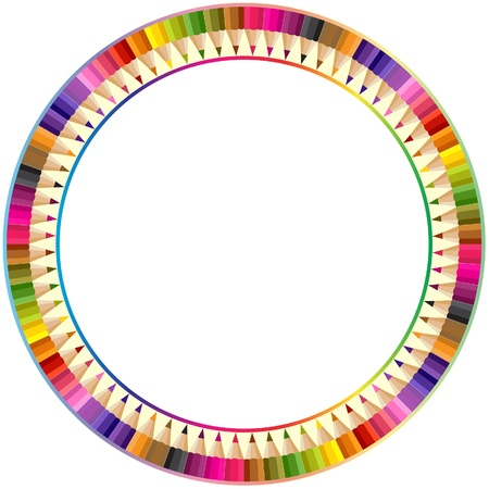 Round frame made from color pencils Vector