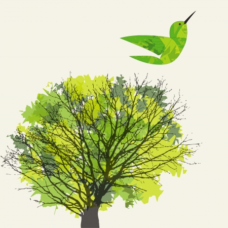 Background with tree, leaf and hummingbird. Vector
