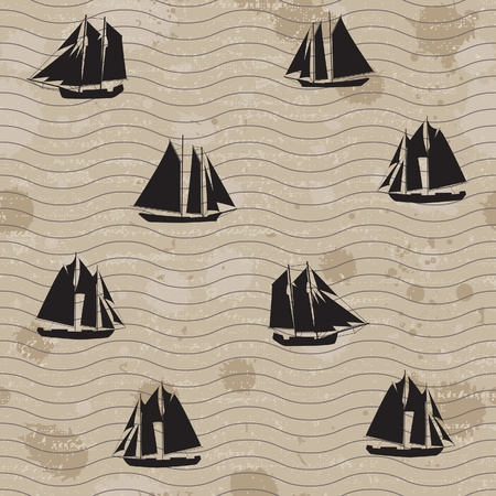 schooner: Abstract seamless background with pirate ships and sea