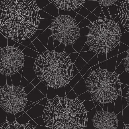 Black and white spider web network, seamless background.