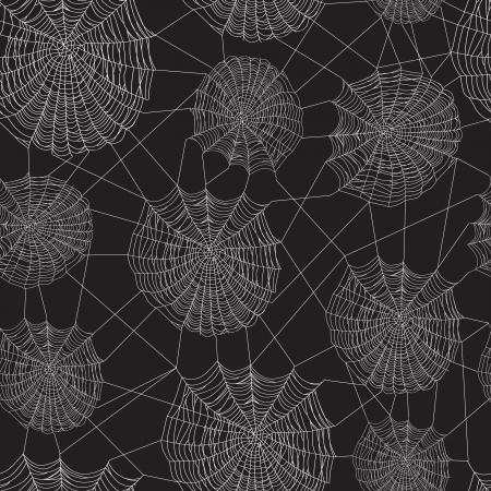Zwart en wit spinnenweb netwerk, naadloze achtergrond.