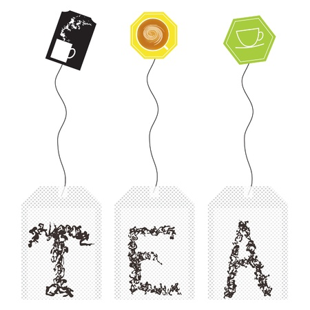 Set of teabag with tea leaf stylized as T E A letters.