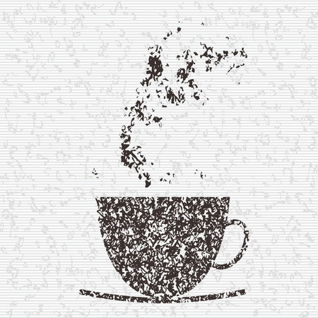 A cup made from tea leaf on tea background Illustration