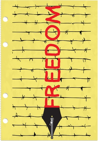 Censorship concept with barbed wire, zipper and pen Stock Vector - 17986933