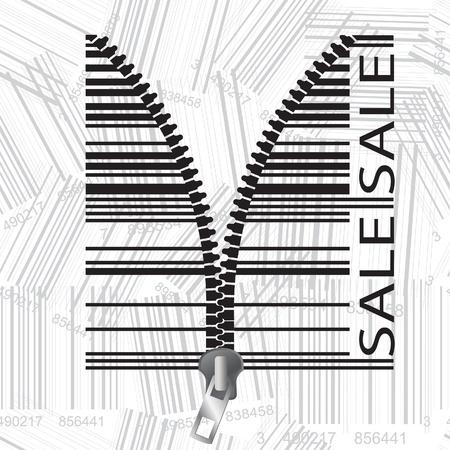 ean: Barcode stylized as a zipper.