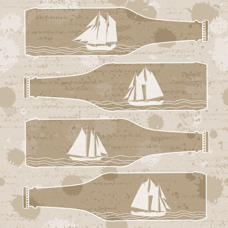 Abstract Background with Ships in bottles. Vector