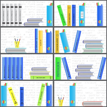 Bookshelf with book and stationery  Seamless background Stock Vector - 17986931