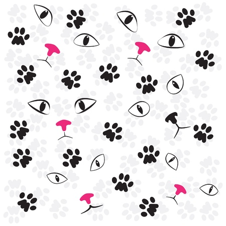 Cat paw and face, seamless background Illustration