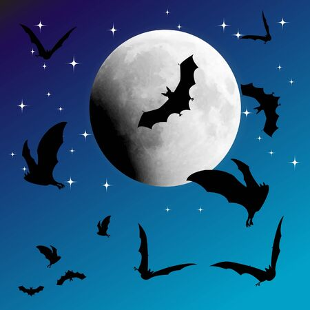 Background with night sky, stars, moon and bats Stock Vector - 17986934