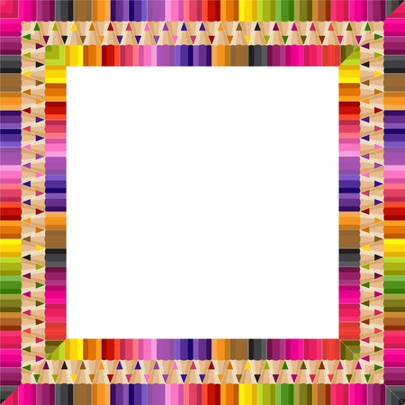 stationery border: Square frame made from color pencils