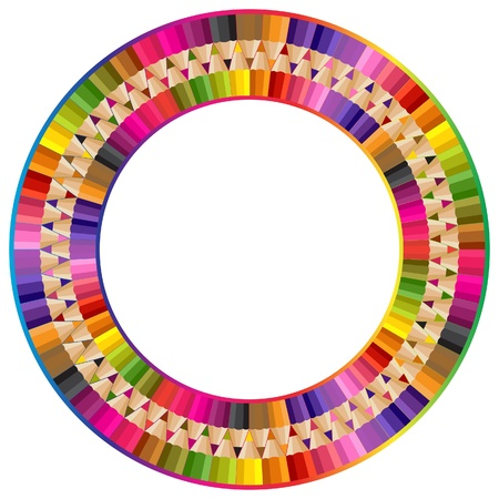 encircle: Round frame from color pencils Illustration