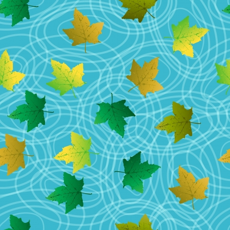 Seamless background with leaf on blue water, circles and tree reflection. Vector