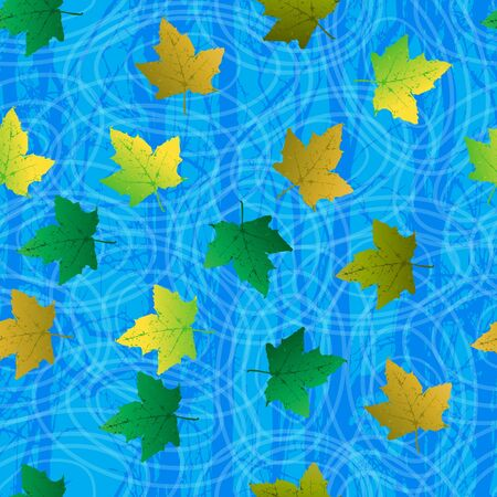 Seamless background with leaf on blue water, circles and tree reflection  Vector