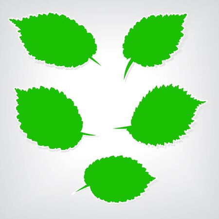 Speech bubble stylized as a green leaf, vector set Stock Vector - 18344165