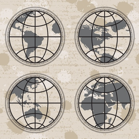 Seamless retro grunge background with globes Vector