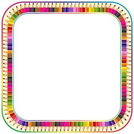 fournitures scolaires: Cadre fabriqu� � partir de crayons de couleur, version avec coins arrondis