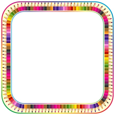 back to school: Frame made from color pencils, version with round corner
