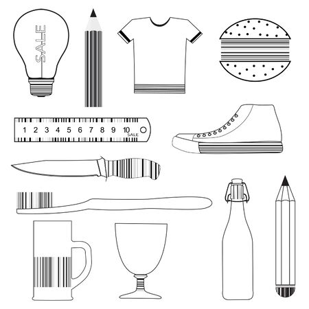 Set of product icons, stylized as a barcode Vector