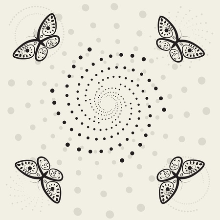 Butterfly and swirl, abstract retro background Stock Vector - 19112955
