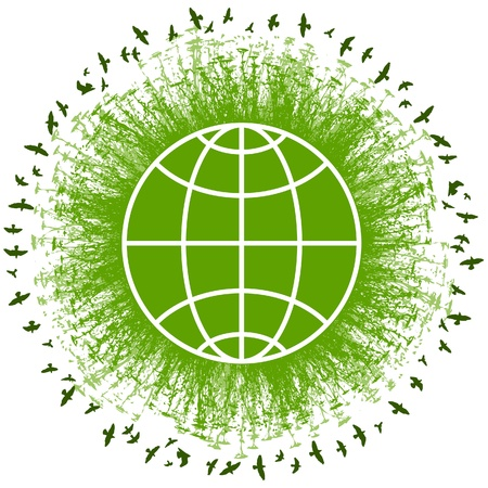 Green eco earth concept icon with globe, tree, grass and bird