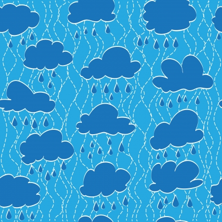 Sky, cloud and rain drop. Seamless background Vector