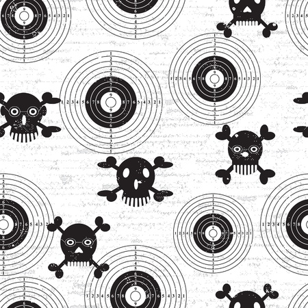 Targets and skulls, retro vintage grunge seamless background. Vector