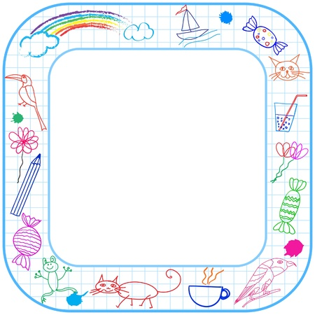 Square border frame with round corner and child drawing on paper. Vector