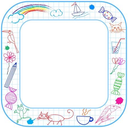 Vierkante grens kader met ronde hoeken en kind tekening op papier. Vector Illustratie