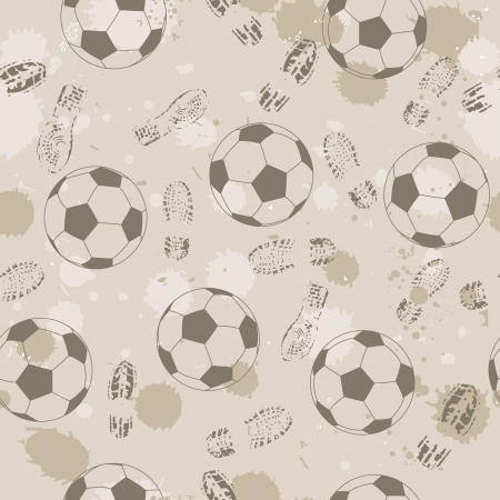 Grunge seamless background with footprint and soccer ball. Vector