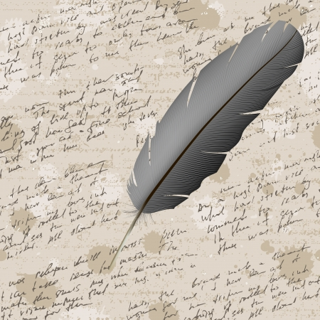 hand write: Abstract old grunge vintage background with hand write and feather. Illustration