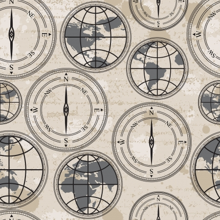 Seamless retro grunge background with globe and compass Vector