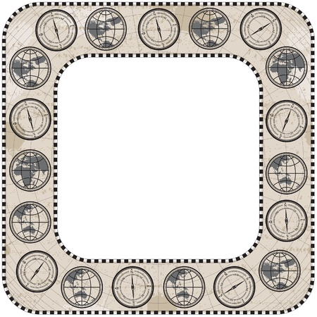 antique frame border. Retro Antique Square Frame Border With Round Corner, Globe, Compass And Map  Stock Vector K