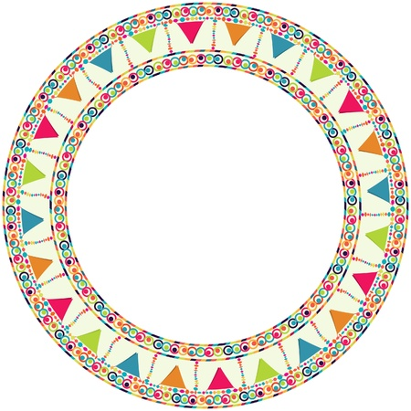 Round frame, border with garland for happy birthday card, poster, postcard, placard