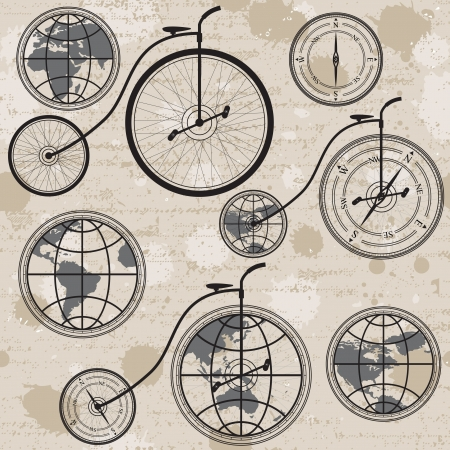 Travel concept with retro bicycle, globe and compass, seamless background Vector