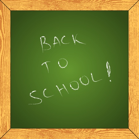 Frame stylized as a school chalkboard with grunge wooden border. Vector