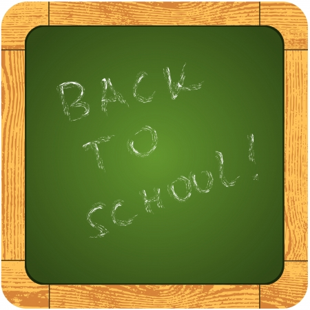 Square Frame with round corner, stylized as a school chalkboard with grunge wooden border. Vector