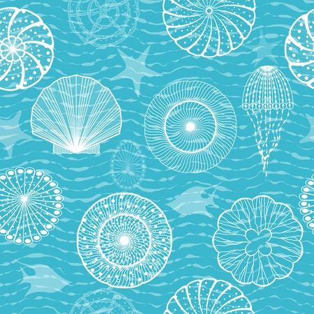 Sea creatures, seamless background Vector