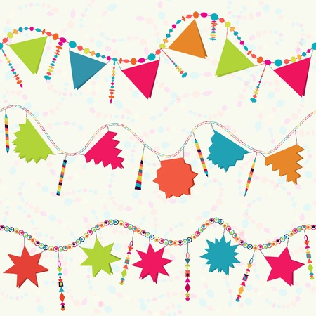 Carnival serpentine, Happy Birthday garland, party decoration, seamless background Vector