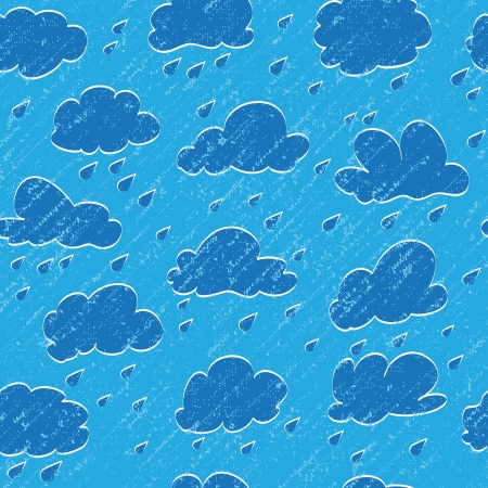 Blue sky, cloud, drop and grunge rain. Seamless background Vector