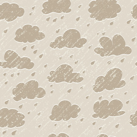 Sky, cloud, drop and grunge rain. Seamless background Illustration