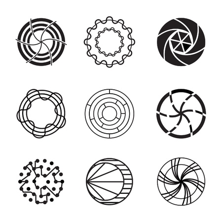 Abstract black and white icon, sign and infographic element Vector